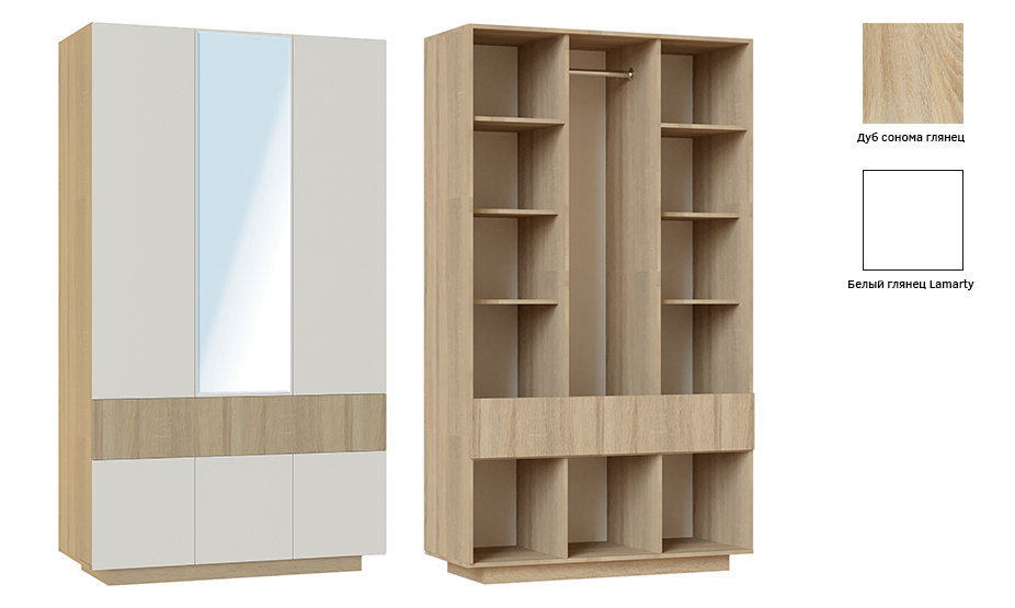 Шкаф 3-створ. Хоккайдо